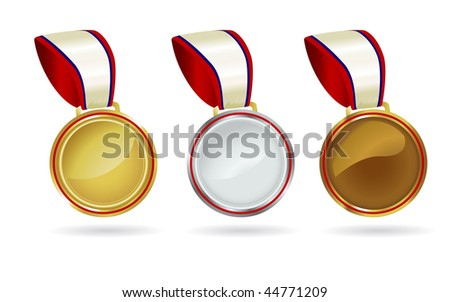 A trio of metal medals great for Olympic standings results. - stock photo