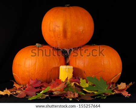 A trio of pumpkins with candle and leaves against a black background. - stock photo