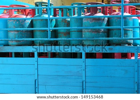 A truck load of Blue 14 Kilogram Gas Cylinders - Liquefied Petroleum Gas (LPG) - stock photo