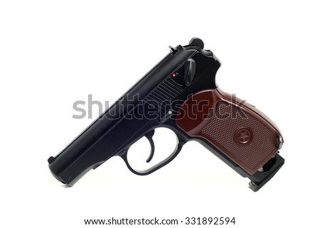a true copy of dusty air gun on a white background - stock photo