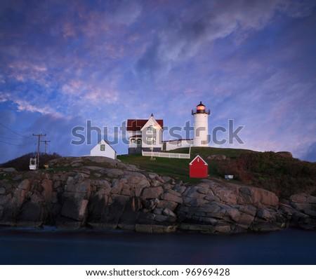 A Truly Gorgeous Sunset At The Nubble Light, Cape Neddick, Maine, USA - stock photo