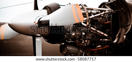 a turbin of a small airplain on a ground - stock photo