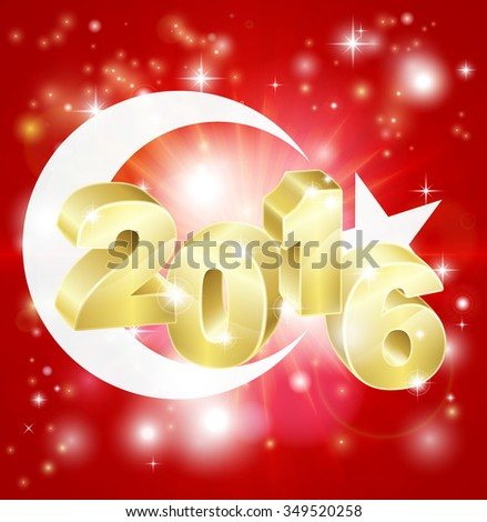A Turkish flag with 2016 coming out of it with fireworks. Concept for New Year or anything exciting happening in Turkey in the year 2016. - stock photo