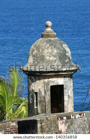 A turret in the Castillo de San Juan, in San Juan, Puerto Rico - stock photo