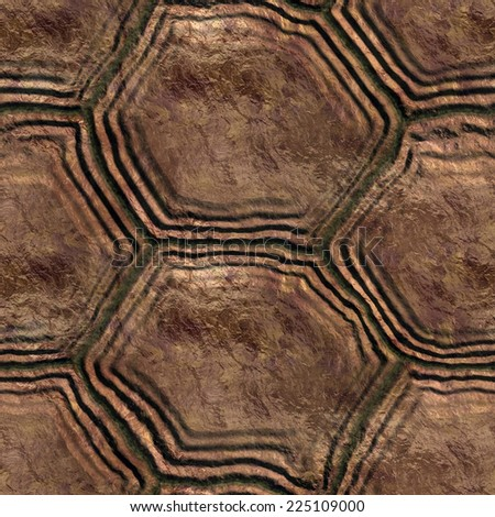A turtle shell seamless texture. It means you can place a sample side by side and repeat it infinitely or use it as material for 3D scenes/objects. - stock photo
