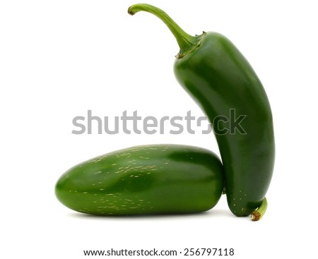 A two hot Jalapeno peppers isolated on white background - stock photo
