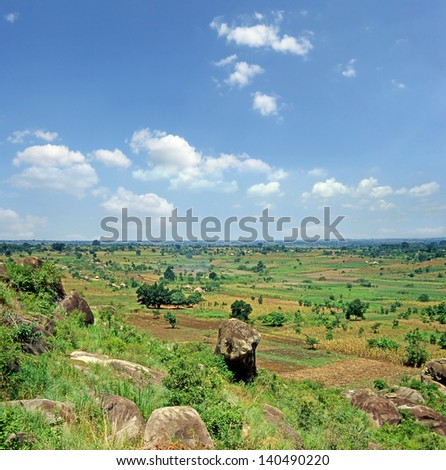 A typical African landscape below Mount Elgon, near the border with Kenya, Uganda - stock photo