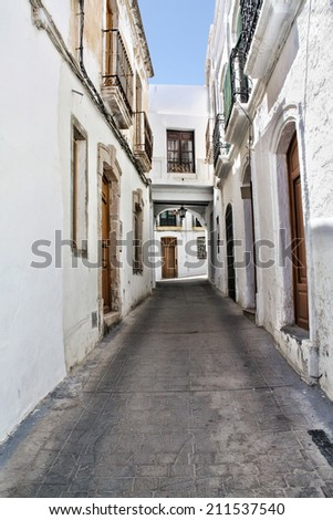 A typical Andalusian street with whitewashed houses. Nijar, a village in the province of Almeria (Spain).