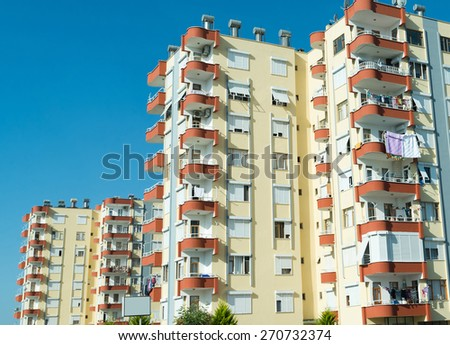 A typical multi-storey residential building in Turkey - stock photo