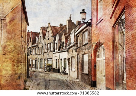 A typical narrow streets of Brugge, Belgium. Artistic watercolor style with texture
