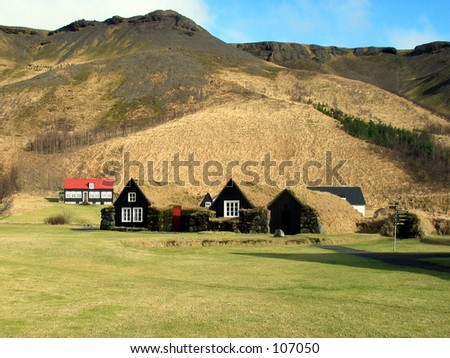 A typical old Icelandic farm with a roof made from growing grass.