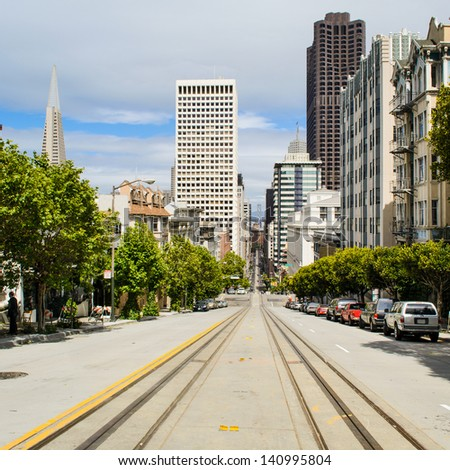 A typical San Francisco street with cable car tracks, California - stock photo
