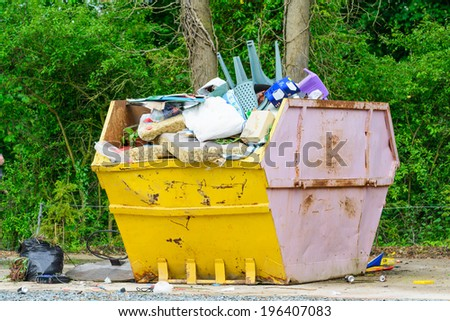 A typical skip or dumpster in the UK