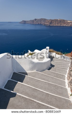 A typical stairway situated in the village of Oia on the greek island of Santorini.