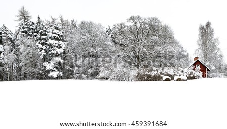 A typical Swedish home among the forest carpeted in snow. - stock photo