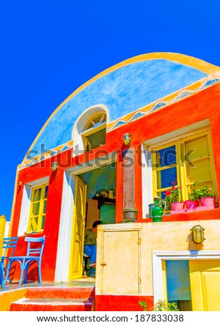 A typical traditional house in Oia the most beautiful village of Santorini island in Greece - stock photo