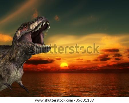 A Tyrannosaurus Rex roaring at a sunrise. - stock photo