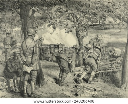 A U.S. battery of 75mm artillery in action in France during WW1. 1917-18. A French officer in left foreground is probably an advisor. 1927 lithograph by Lucian Jonas.