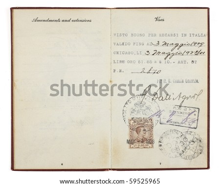 A U.S. Passport from the 1920s open to two facing pages with customs stamps from 1928 Italy. Isolated on white with clipping path. - stock photo