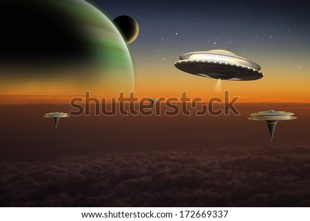 A UFO flies over floating cities on an alien world.