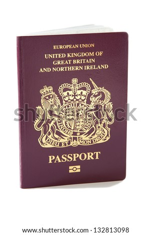 A United Kingdom passport against a plain white background