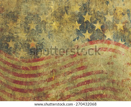 A US American flag design in a grunge style heavily distressed, damaged and faded with the appearance of being old paint on concrete.
