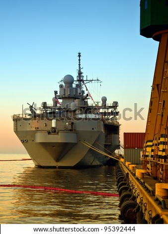 A US Warship in port of Gdynia, Poland. - stock photo