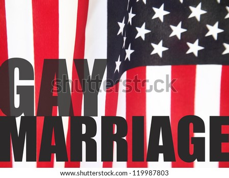a USA flag with the words 'gay marriage'
