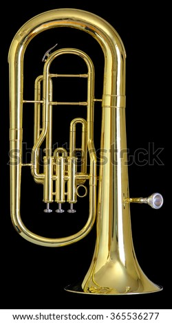 A used brass baritone on a solid black background.