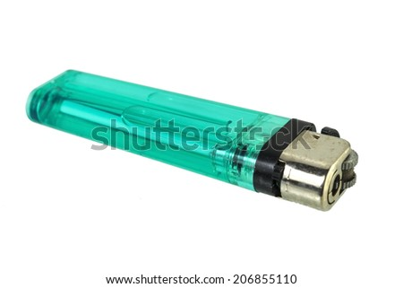 A used butane green lighter - Green lighter isolated on the white background. - stock photo