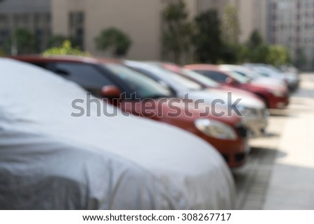 A used car lot(defocused).