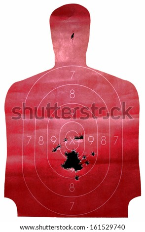 A used red shooting target close-up. - stock photo