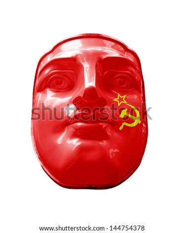A USSR flag on a face, isolated against white.  - stock photo