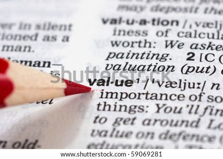 a value definition in a dictionary - stock photo