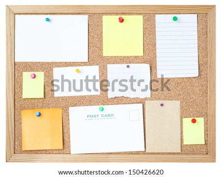 A variety of blank message media pinned to a framed cork noticeboard with different types and colours of pushpins.  Isolated on white background. - stock photo