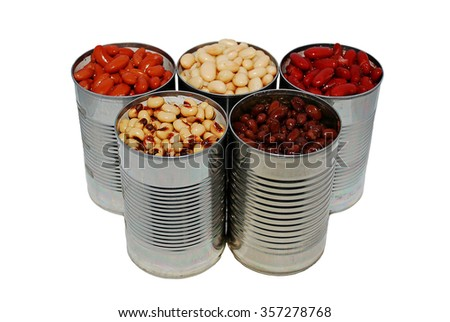 A variety of canned beans on a white background, basic ingredients for chili - stock photo