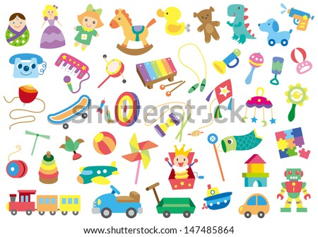 A variety of children's toys - stock photo