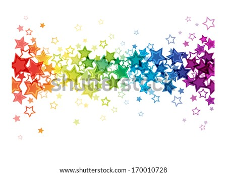 A variety of colorful stars all in a line.