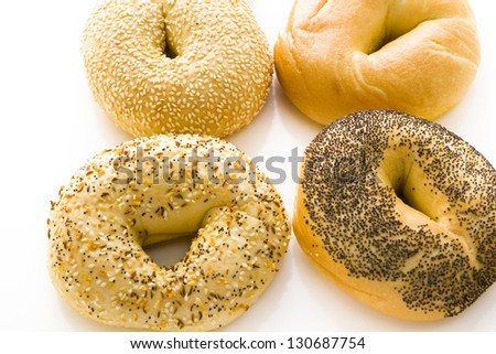 A variety of delicious, freshly baked bagels.