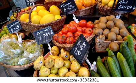 A variety of fruits and vegetables in market - stock photo