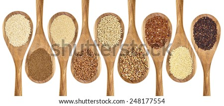 a variety of gluten free grains (buckwheat, amaranth, brown rice, millet, sorghum, teff, black, red and white quinoa) on wooden spoons isolated on white - stock photo