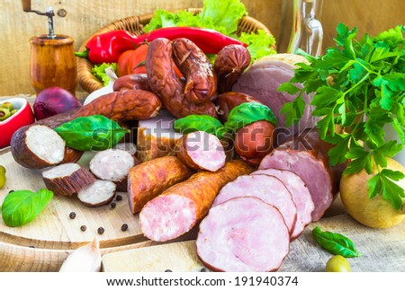 A variety of processed meat products with vegetables