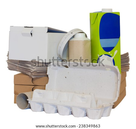 A variety of recyclable paper objects isolated on white.