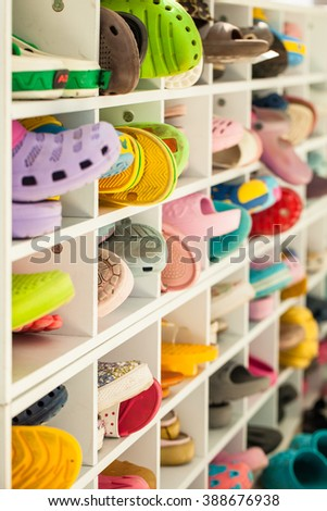A variety of shoes on racks
