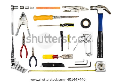 a variety of tools on white - stock photo