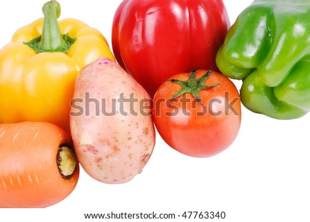 A variety of vegetables isolated on a white background