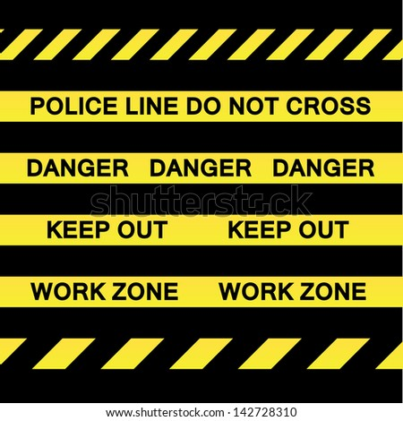 A variety of yellow caution tapes in vector format for construction and crime scene investigation concepts.
