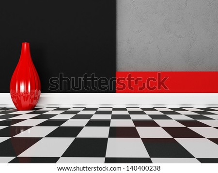 a vase in the empty room, rendering