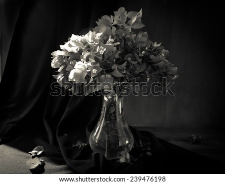 A vase with flowers - a studio still life shot with lack and white treatment. - stock photo