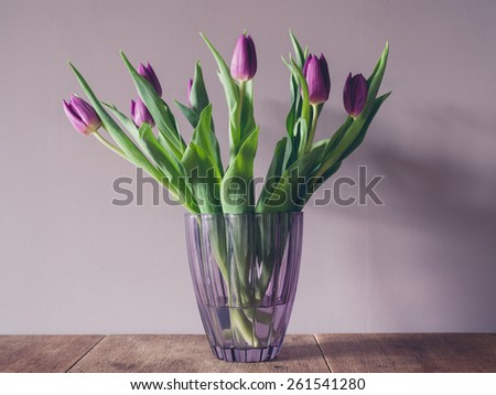 A vase with purple tulips